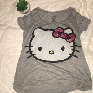 Small Hello Kitty Graphic Tee with rhinestone bow
